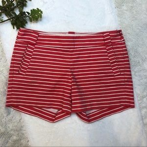 {J. Crew} Red White Striped Stretch Shorts